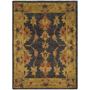 Lafountain Hand-Knotted Charcoal/Gold Area Rug by Alcott Hill