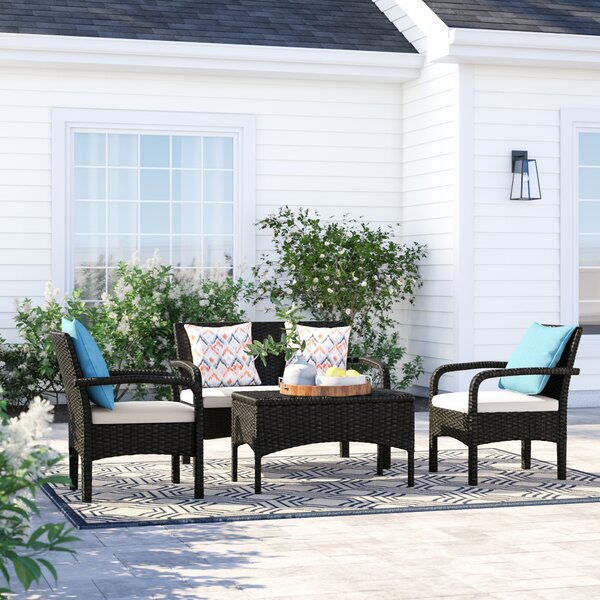 Lauer 4 Piece Rattan Sofa Seating Group With Cushions By Sol 72 Outdoor by Sol 72 Outdoor Spacial Price