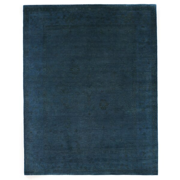 Overdyed Hand Woven Wool Blue Area Rug by Exquisite Rugs
