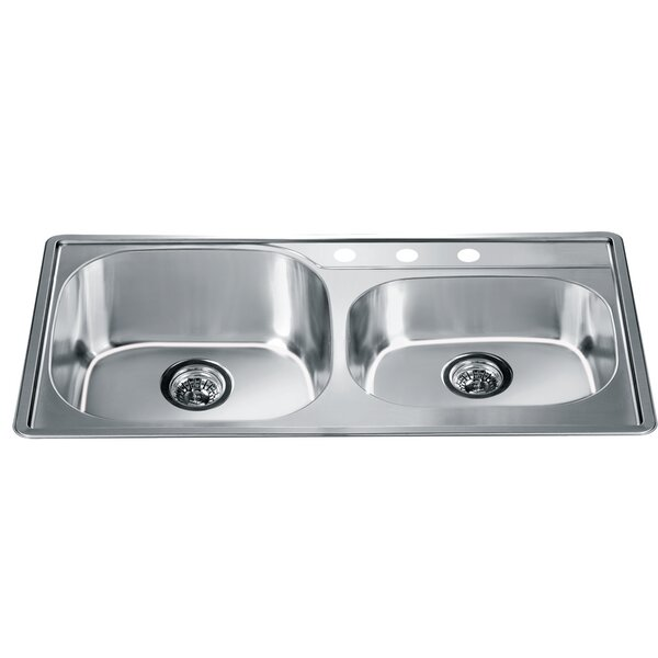 34.25 L x 19.13 W Top Mount Double Bowl Kitchen Sink by Dawn USA