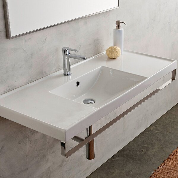 ML Ceramic 48 Wall Mount Bathroom Sink with Overflow by Scarabeo by Nameeks