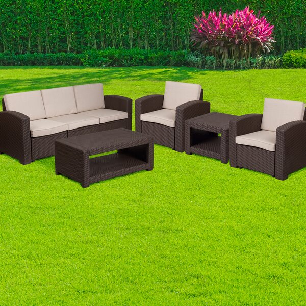 Resler 5 Piece Sofa Set with Cushions by Wrought Studio