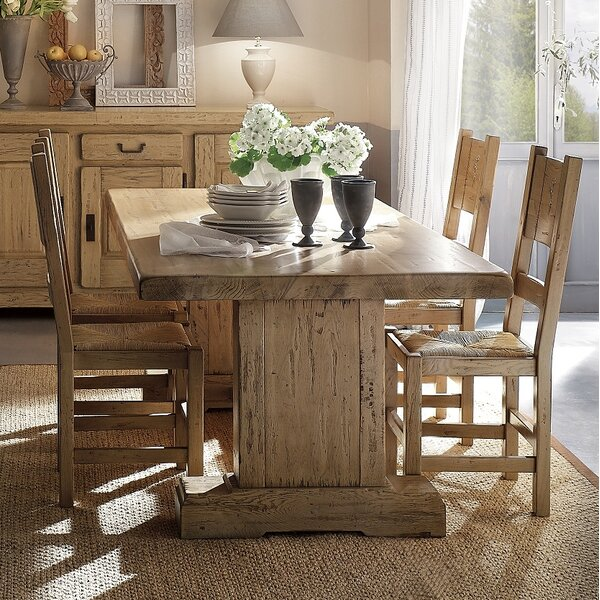 Higgins Solid Wood Dining Table by Loon Peak