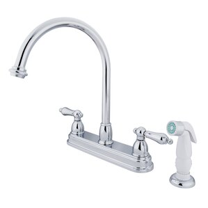 Kingston Brass Restoration Double Handle Kitchen Faucet with Non-Metallic Sprayer