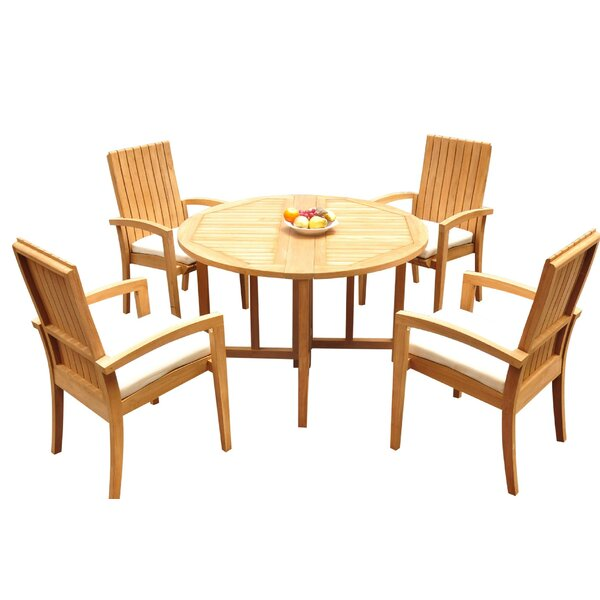 Watts 5 Piece Teak Dining Set Bayou Breeze W001959886