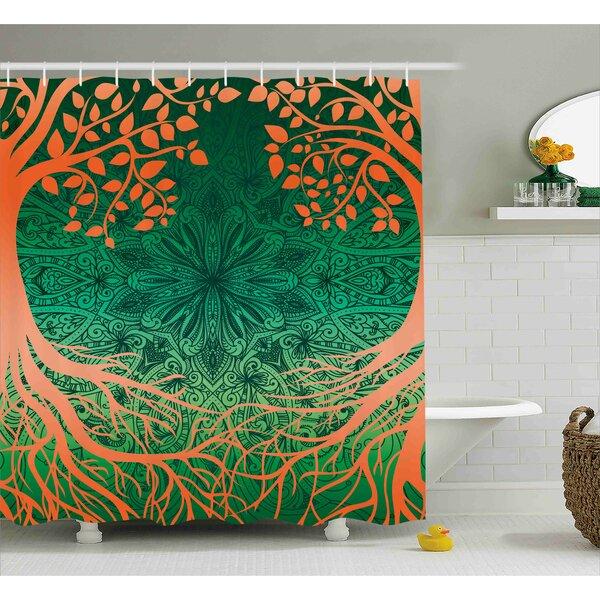 Arabelle Asian Mandala Symbols Shower Curtain by Bloomsbury Market