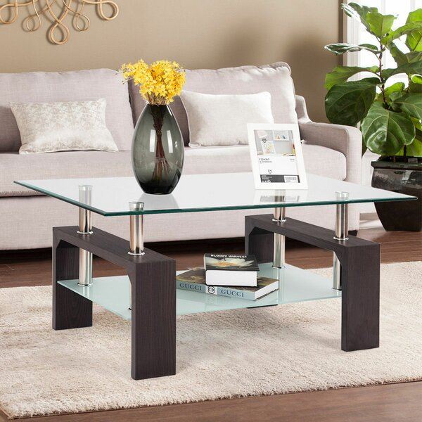 Colm Rectangular Tempered Glass Coffee Table by Orren Ellis
