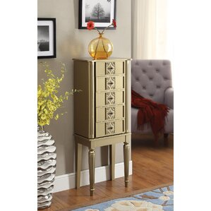 Tammy Free standing Jewelry Armoire with Mirror by A&J Homes Studio