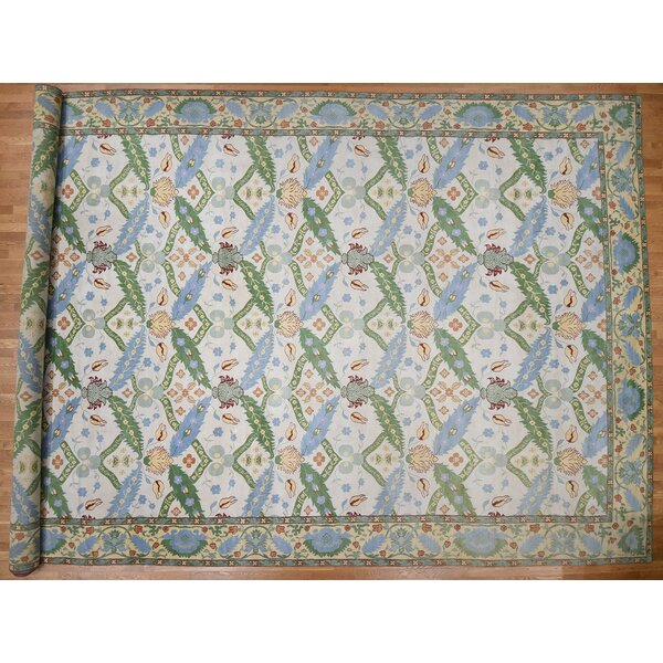 One-of-a-Kind Janiyah Hand-Knotted Ivory/Green 14'7 x 27'2 Wool Area Rug