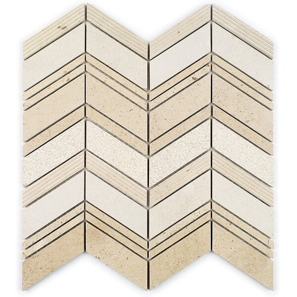 Dart Winged Random Sized Marble Mosaic Tile in Crema by Splashback Tile