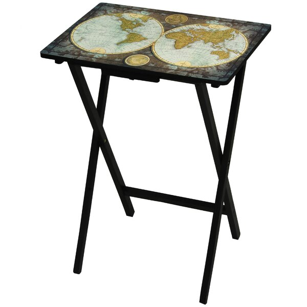 Vintage World Map TV Tray by Oriental Furniture