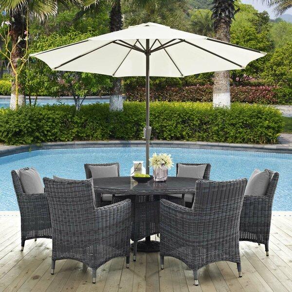 Alaia 8 Piece Rattan Sunbrella Dining Set with Cushions by Brayden Studio