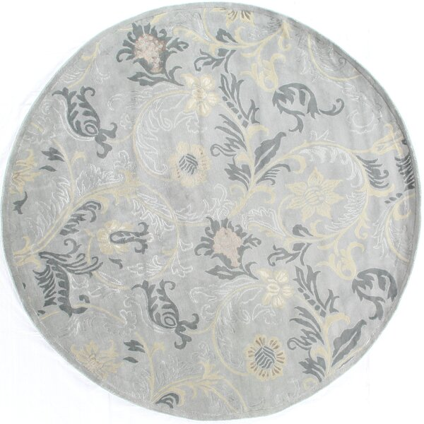 Super Tibetan Hand Knotted Wool/Silk Light Blue Area Rug by Exquisite Rugs