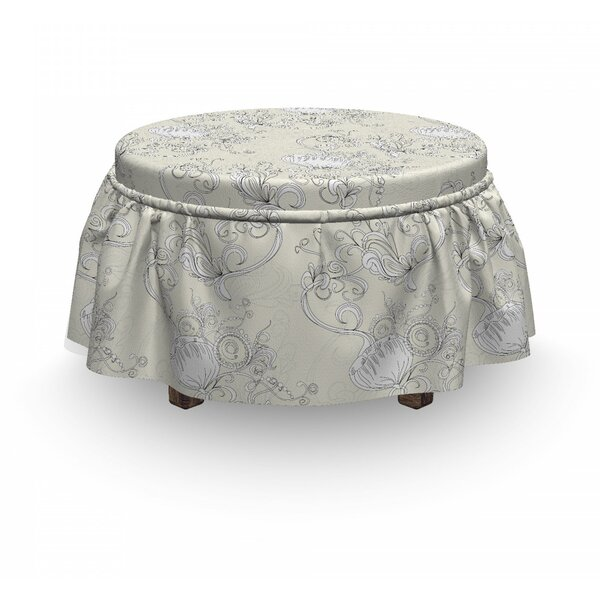 Romantic Bridal Branch Ottoman Slipcover (Set Of 2) By East Urban Home