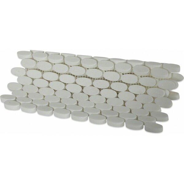 Orbit Ovals 0.5 x 1.25 Marble Mosaic Tile in White Thassos by Splashback Tile