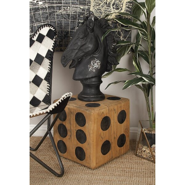 Teak Wood Dice Accent Stool by Cole & Grey