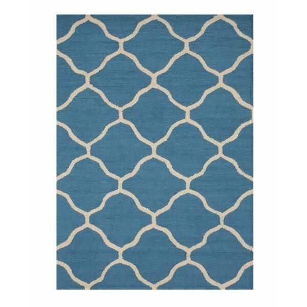 Durrant Wool Traditional Trellis Hand-Tufted Teal Area Rug by Brayden Studio