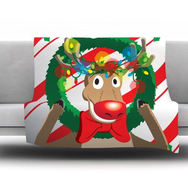 Reindeer 30 Seasonal Fleece Blanket by East Urban Home