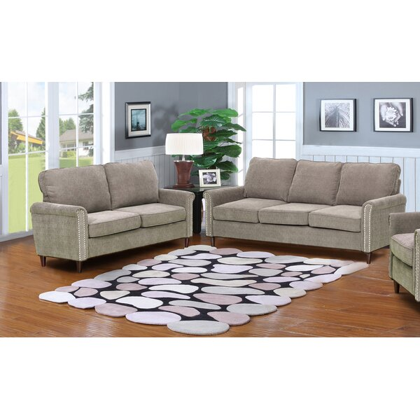 #1 Hayton Fabric Modern 2 Piece Solid Living Room Set By Charlton Home Herry Up