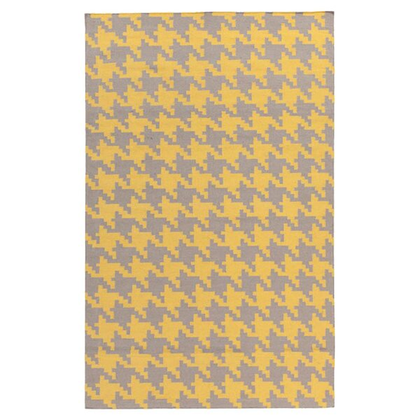 Atkins Elephant Gray & Quince Yellow Area Rug by Charlton Home