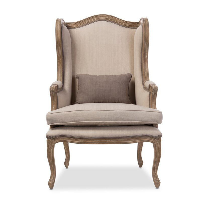 Baxton Studio Wingback Chair #frenchcountry #wingchair #linenchair