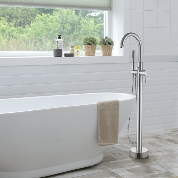 Double Handle Floor Mounted Free Standing Tub Filler with Hand Shower by Dyconn Faucet Dyconn Faucet