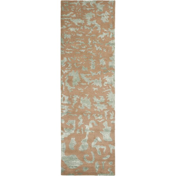 Lyon Hand-Tufted Wool Taupe/Light Blue Area Rug by Wrought Studio