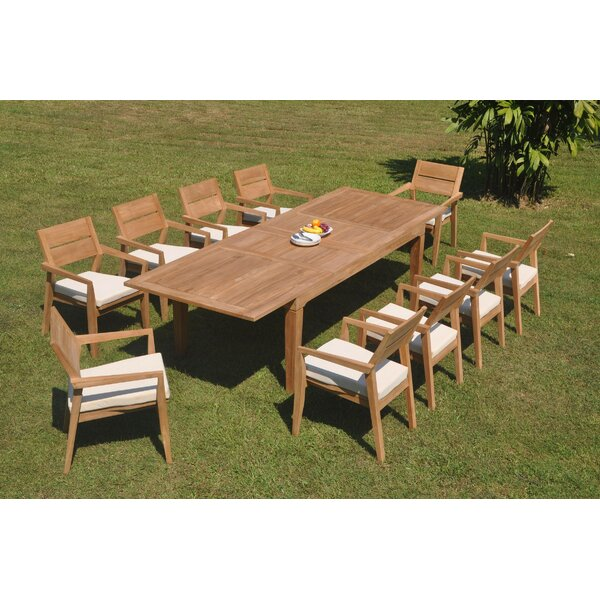 Hermann 11 Piece Teak Dining Set by Rosecliff Heights