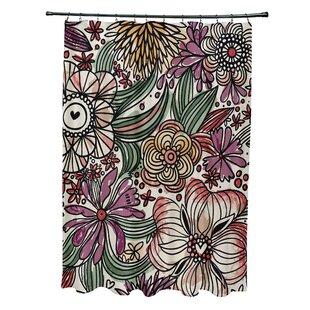 Comparison Natahsa Zentangle Floral Print Shower Curtain ByLatitude Run
