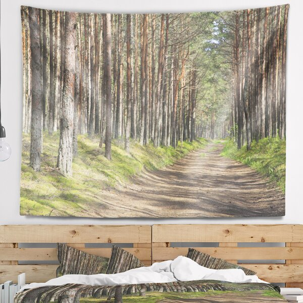 Beautiful Road Through Thick Woods Modern Forest Tapestry and Wall Hanging by East Urban Home