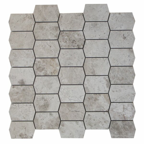 Marble Mosaic Tile in Silver Shadow by Ephesus Stones