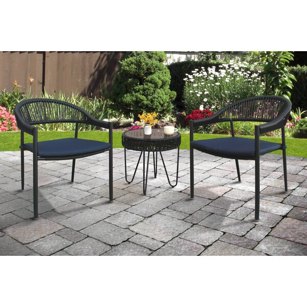 Mccarver 3 Piece Seating Group with Cushions by Bungalow Rose