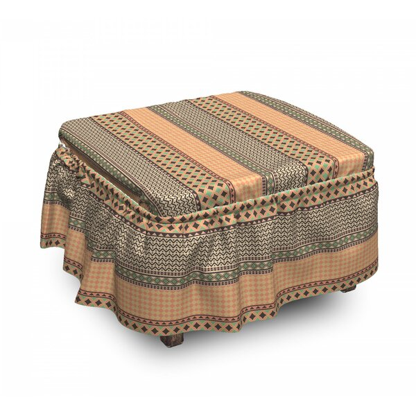 Ornament Ottoman Slipcover (Set Of 2) By East Urban Home