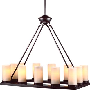 Faux pillar candle chandelier wayfair warwick 12 light candle style chandelier mozeypictures Image collections