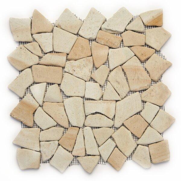 Decorative Pebbles Random Sized Natural Stone Pebble Tile in Bamboo by Solistone