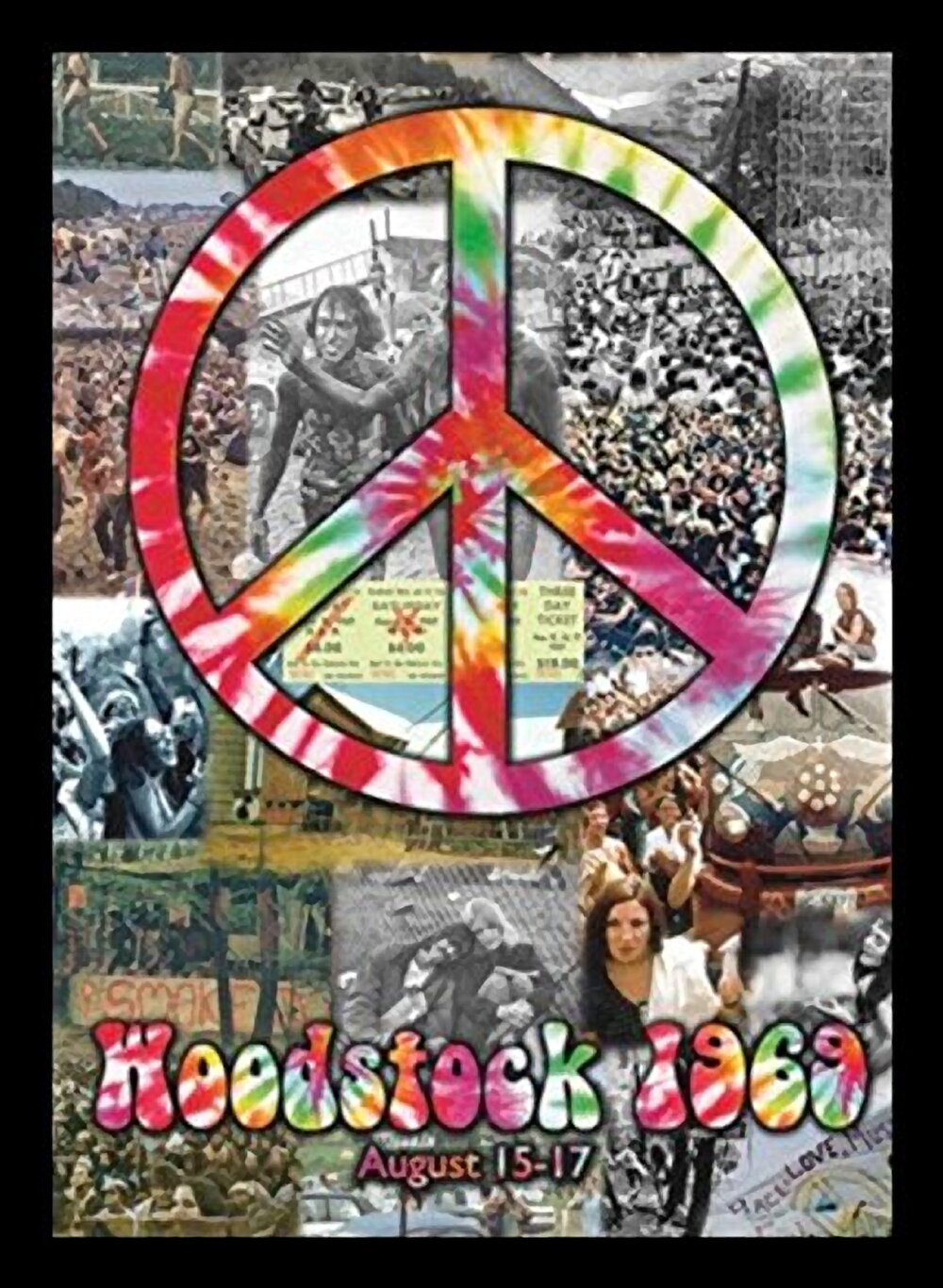 Woodstock and Peace Sign Collage - Picture Frame Graphic Art Print on Paper