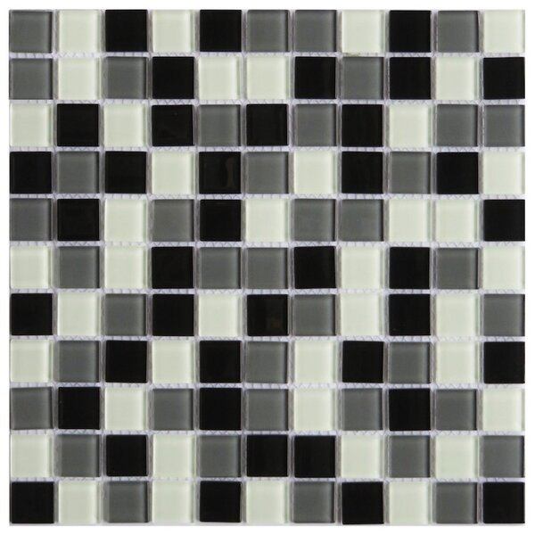 Pizzoli 1 x 1 Glass Mosaic Tile in Black by NovoTileStudio