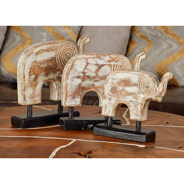 Charlwood Contemporary Rustic Abstract Elephant 3 Piece Figurine Set by Bloomsbury Market