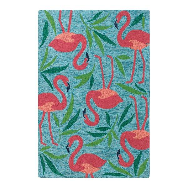 Fancy Flamingo Aqua/Pink Indoor/Outdoor Area Rug by CompanyC