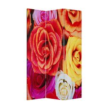 72 x 48 Daisy and Rose 3 Panel Room Divider by Screen Gems