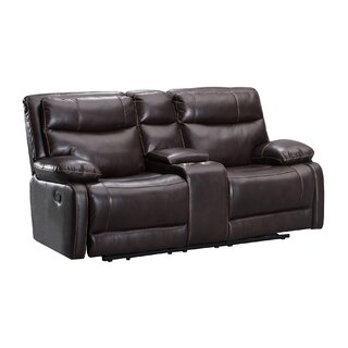 Leatherette Dual Recliner Wooden Loveseat With Console, Brown by Red Barrel Studio SKU:DB815766 Buy