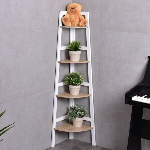 Call 4-Tier Wood Ladder Wall Display Corner Unit by Wrought Studio