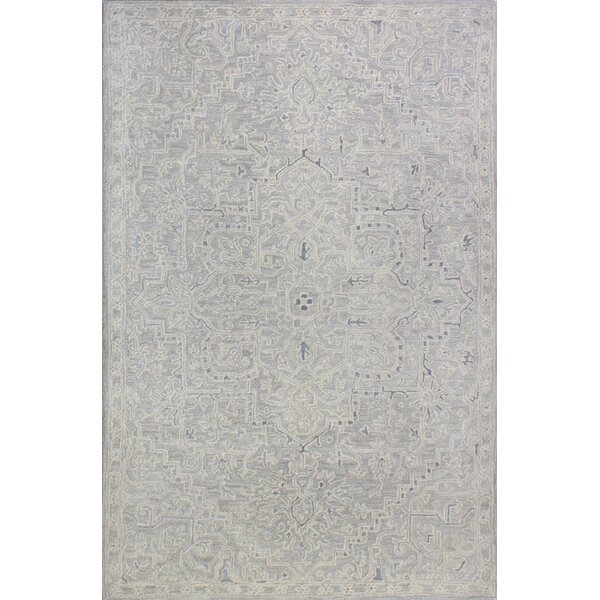 Kinman Hand-Woven Silver Area Rug by Ophelia & Co.