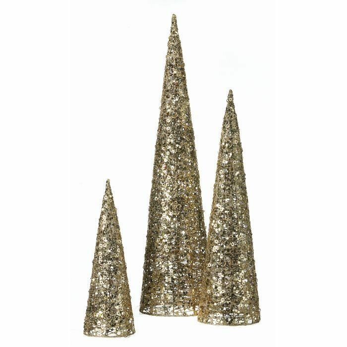Glitter Sequins Christmas 3 Piece Tabletop Tree Set