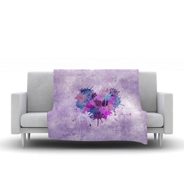 Painted Heart Throw Blanket by KESS InHouse