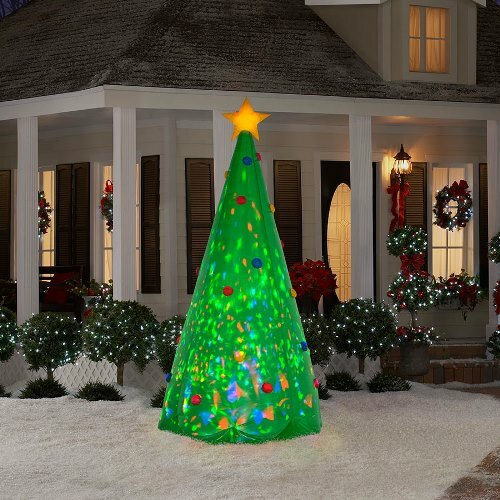 Projection Airblown Kaleidoscope Green Christmas Tree Large Inflatable by The Holiday Aisle