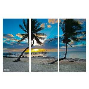 'Sun Set' by Bruce Bain 3 Piece Photographic Print on Wrapped Canvas Set by Ready2hangart