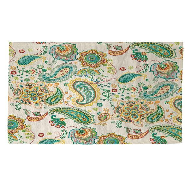 Aqua Bloom Paisley Area Rug by Manual Woodworkers & Weavers