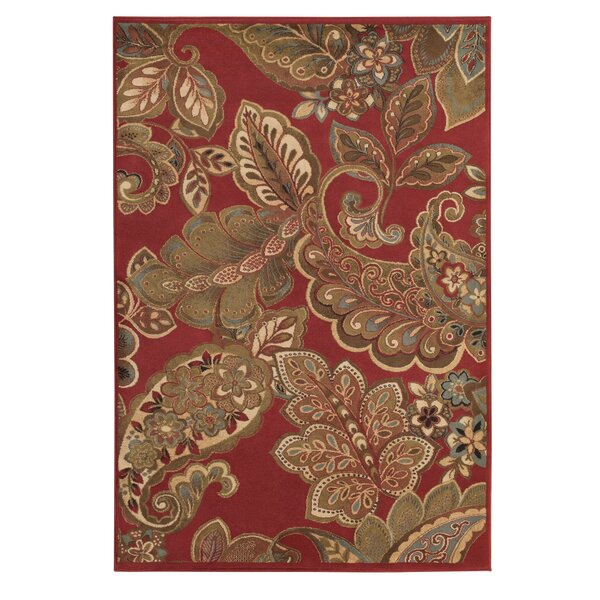 Needham Dark Red Indoor Area Rug by Three Posts