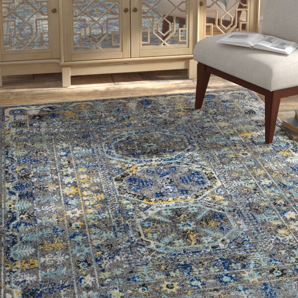 Arteaga Traditional Vintage Blue/Gray Area Rug by Bungalow Rose
